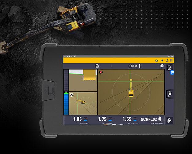 Bild einer digitalen Maschinensteuerungseinheit für Baumaschinen