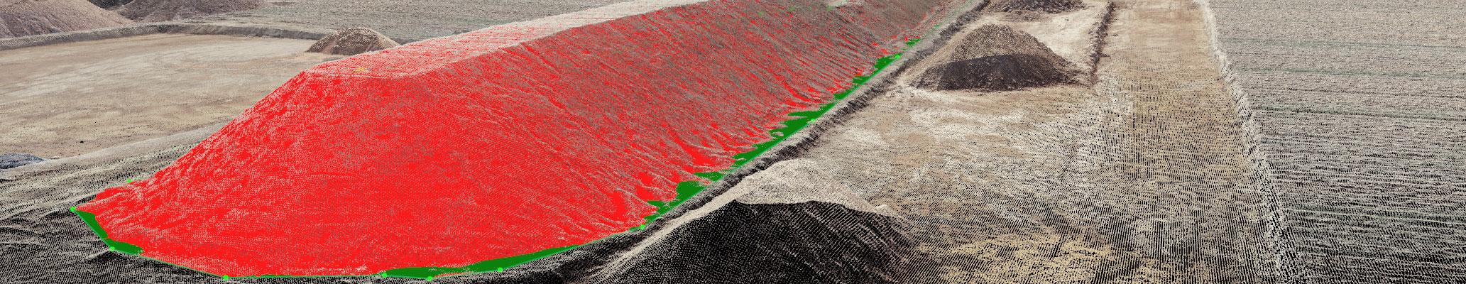 Bild einer rot markierten Erdhalde im Gewerbegiet Weidenhecken bei Woerth