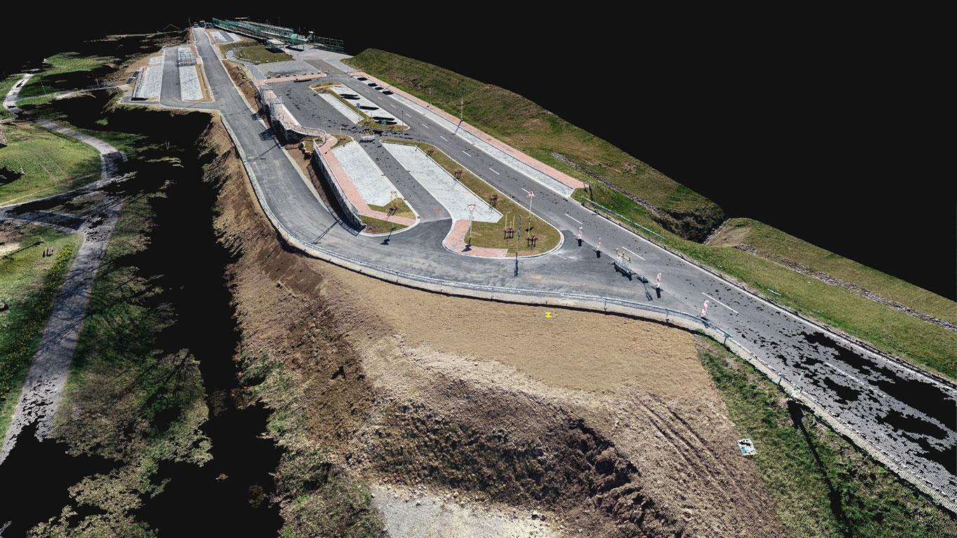 Der aktuelle Bestand nach den Baumaßnahmen am P&R Platz in Heigenbrücken als 3D Modell Punktwolke